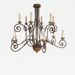 Wrought Iron and Wood Chandelier - 1407179