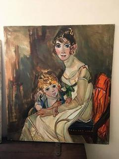 Wyona Diskin Large Signed Modern Painting of Baroque Woman and Child - 437912