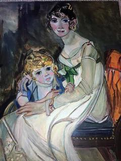 Wyona Diskin Large Signed Modern Painting of Baroque Woman and Child - 437914