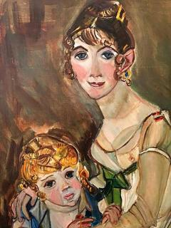 Wyona Diskin Large Signed Modern Painting of Baroque Woman and Child - 437915