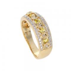 YELLOW SAPPHIRE AND DIAMOND CIRCULAR DESIGNED RING 14K GOLD - 2021780