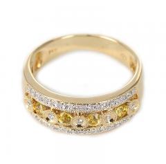 YELLOW SAPPHIRE AND DIAMOND CIRCULAR DESIGNED RING 14K GOLD - 2021781
