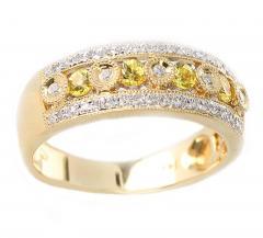 YELLOW SAPPHIRE AND DIAMOND CIRCULAR DESIGNED RING 14K GOLD - 2021782