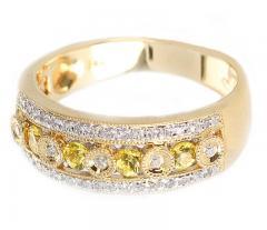 YELLOW SAPPHIRE AND DIAMOND CIRCULAR DESIGNED RING 14K GOLD - 2021783