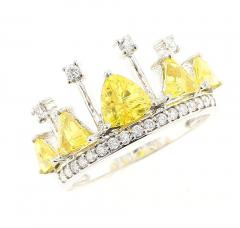 YELLOW SAPPHIRE AND DIAMOND CROWN RING 18K WHITE GOLD - 1933852