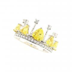 YELLOW SAPPHIRE AND DIAMOND CROWN RING 18K WHITE GOLD - 1935033