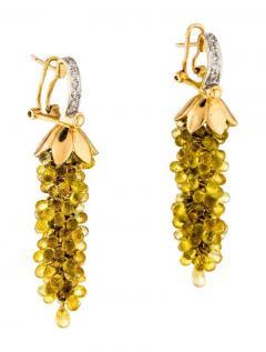 YELLOW SAPPHIRE CHANDELIER EARRINGS WITH DIAMONDS 14 KARAT GOLD - 2021792