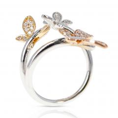YELLOW WHITE AND ROSE 18 KARAT GOLD THREE BUTTERFLY RING WITH DIAMONDS - 2002209