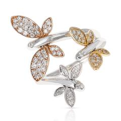 YELLOW WHITE AND ROSE 18 KARAT GOLD THREE BUTTERFLY RING WITH DIAMONDS - 2002210