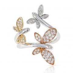 YELLOW WHITE AND ROSE 18 KARAT GOLD THREE BUTTERFLY RING WITH DIAMONDS - 2002211
