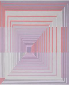 YOKO HARU Yoko Haru American 1968 Stunning Geometric Modern Op Art Acrylic on Canvas - 1903864
