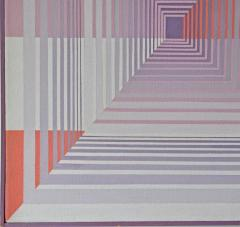 YOKO HARU Yoko Haru American 1968 Stunning Geometric Modern Op Art Acrylic on Canvas - 1903865