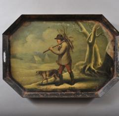 YOUNG MAN COLLECTING KINDLING WITH HIS DOG - 831933