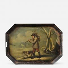 YOUNG MAN COLLECTING KINDLING WITH HIS DOG - 832778