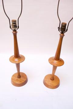 Yasha Heifetz Pair of Modernist Maple Table Lamps by Yasha Heifetz - 1679271