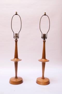 Yasha Heifetz Pair of Modernist Maple Table Lamps by Yasha Heifetz - 1679273