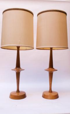 Yasha Heifetz Pair of Modernist Maple Table Lamps by Yasha Heifetz - 1679275