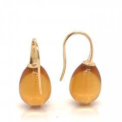 Yellow Gold 18 K Hydro Citrine Drop Earrings - 1209112