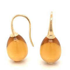 Yellow Gold 18 K Hydro Citrine Drop Earrings - 1209114