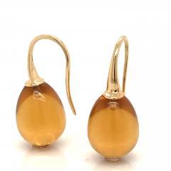 Yellow Gold 18 K Hydro Citrine Drop Earrings - 1209115