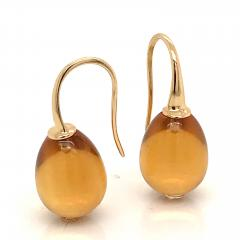 Yellow Gold 18 K Hydro Citrine Drop Earrings - 1209116