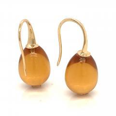 Yellow Gold 18 K Hydro Citrine Drop Earrings - 1209117