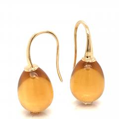 Yellow Gold 18 K Hydro Citrine Drop Earrings - 1209118