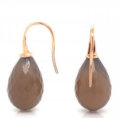 Yellow Gold 18k with Grey Agatha Drop Earrings - 1218373