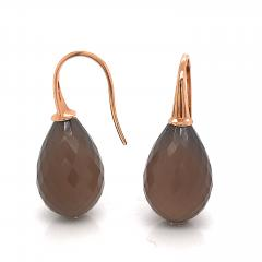 Yellow Gold 18k with Grey Agatha Drop Earrings - 1218376