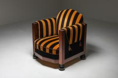 Yellow and Black velvet Art Deco club chair 1930s - 1638272
