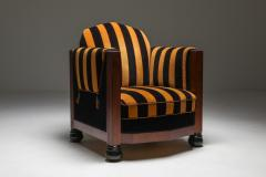 Yellow and Black velvet Art Deco club chair 1930s - 1638278