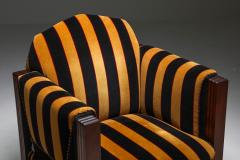 Yellow and Black velvet Art Deco club chair 1930s - 1638279