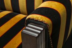 Yellow and Black velvet Art Deco club chair 1930s - 1638280