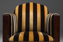 Yellow and Black velvet Art Deco club chair 1930s - 1638281