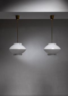 Yki Nummi Pair of Yki Nummi White Plexiglass and Brass Pendants for Orno - 1191637
