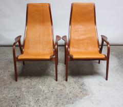 Yngve Ekstr m Pair of Swedish Teak and Leather Lamino Chairs by Yngve Ekstr m - 667425