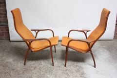 Yngve Ekstr m Pair of Swedish Teak and Leather Lamino Chairs by Yngve Ekstr m - 667426