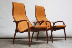 Yngve Ekstr m Pair of Swedish Teak and Leather Lamino Chairs by Yngve Ekstr m - 667427