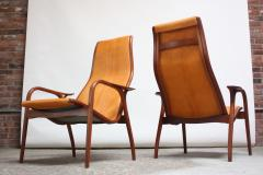 Yngve Ekstr m Pair of Swedish Teak and Leather Lamino Chairs by Yngve Ekstr m - 667431