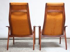 Yngve Ekstr m Pair of Swedish Teak and Leather Lamino Chairs by Yngve Ekstr m - 667433
