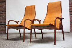 Yngve Ekstr m Pair of Swedish Teak and Leather Lamino Chairs by Yngve Ekstr m - 667434
