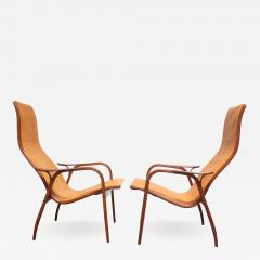 Yngve Ekstr m Pair of Swedish Teak and Leather Lamino Chairs by Yngve Ekstr m - 681626