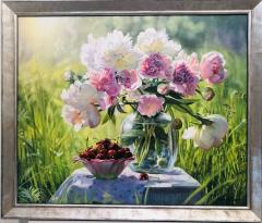 Zbigniew Kopania Pink Peonies with Cherries Still Life - 1062805