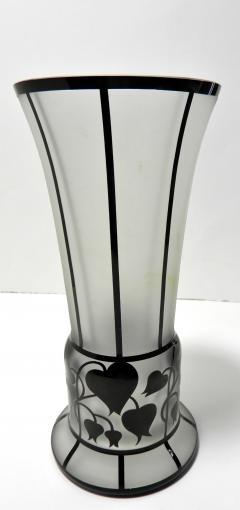 Zbynek Votocek Czech Hand Blown 8 Etched Vase by Zbynek Votocek - 626089