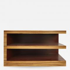 Zebra Wood Tiered Low Bookcase Side or End Table - 1242153