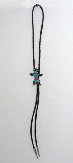 Zuni bolo with knifewing god slide and silver dangles - 1321601
