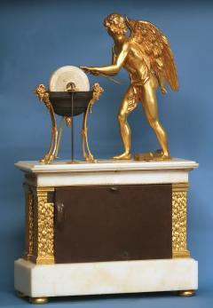 c 1800 Animated French Ormolu Patinated and White Marble Mantle Clock - 1276609