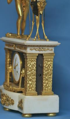 c 1800 Animated French Ormolu Patinated and White Marble Mantle Clock - 1276611