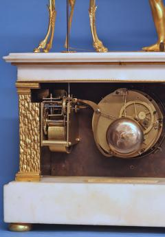 c 1800 Animated French Ormolu Patinated and White Marble Mantle Clock - 1276612