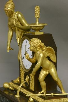 c 1810 Large French Ormolu Patinated and Marble Mantle Clock - 1184075